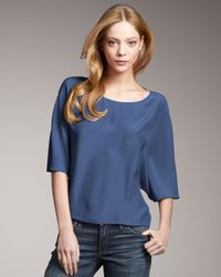 Vince | Low-back Satin Top, Blue | Lyst