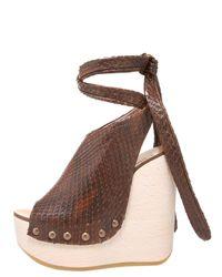 Chloé | Brown Python Tie-up Wedge Clog | Lyst