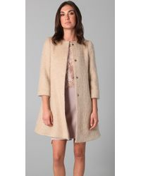 Philosophy di Alberta Ferretti | Natural Mohair Shift Coat | Lyst