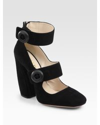 Prada | Black Suede Two-strap Mary Jane Pumps | Lyst