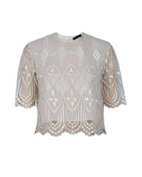 The Row - Natural Slevely Lace Top - Lyst