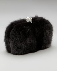Alexander McQueen | Black Skull-clasp Mink Box Clutch | Lyst