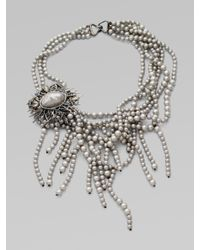 Alexis Bittar | Metallic Shell-pearl Fringe Bib Necklace | Lyst