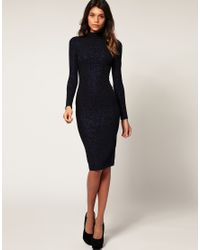 ASOS Collection - Blue Asos Bodycon Midi Dress with Glitter - Lyst
