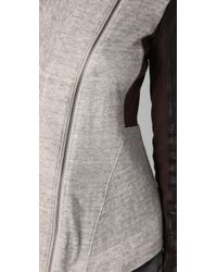 Elizabeth and James   Gray Kurt Leather Trim Double Knit Jacket   Lyst