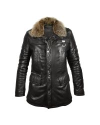 FORZIERI | Mens Black Leather Car Coat W/fur Detachable Collar for Men | Lyst