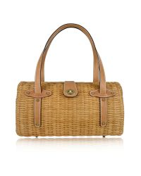 FORZIERI | Capaf Line Light Brown Wicker and Leather Barrel Bag | Lyst