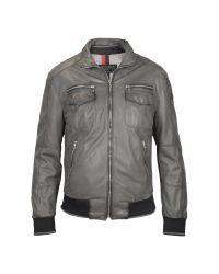 FORZIERI - Gray Mens Dark Grey Leather Bomber Jacket for Men - Lyst