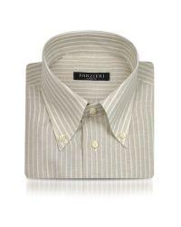 FORZIERI - Natural Sand Striped Linen and Cotton Italian Dress Shirt for Men - Lyst