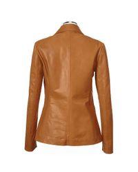FORZIERI - Brown Womens Tan Italian Genuine Leather Blazer - Lyst