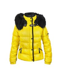 FORZIERI | Yellow Leather Puffer Jacket W/detachable Fur Hood | Lyst