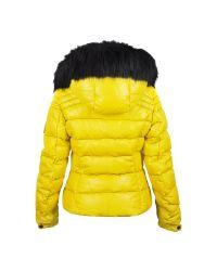 FORZIERI   Yellow Leather Puffer Jacket W/detachable Fur Hood   Lyst