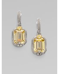 Judith Ripka | Metallic Canary Crystal, White Sapphire & Sterling Silver Cushion Drop Earrings | Lyst
