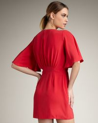 Parker - Red Ruffled Wrap Dress - Lyst