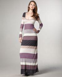 Splendid Brown Multi Stripe Maxi Dress