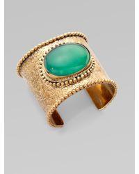 Stephen Dweck | Metallic Green Agate Engraved Cuff Bracelet | Lyst