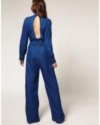 ASOS Collection - Blue Asos Denim Frill Collar Jumpsuit - Lyst