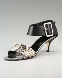 Bettye Muller | Black Python-print Kitten-heel Sandal | Lyst