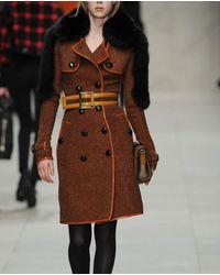 Burberry Prorsum   Orange Wool Tweed Trench Coat with Fox Fur Panels   Lyst