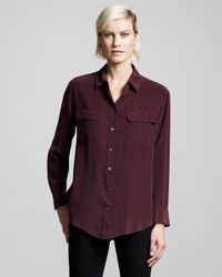 Equipment | Red Signature Silk Blouse, Wine | Lyst
