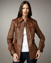 Neiman Marcus - Brown Short Belted Leather Trenchcoat - Lyst