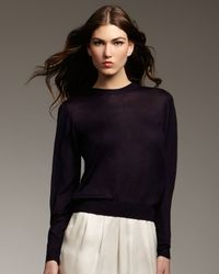 Theyskens' Theory - Blue Silk-cashmere Long-sleeve Top - Lyst
