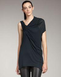Helmut Lang | Black Asymmetric Jersey Top | Lyst
