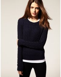 American Apparel | Blue Cable Knit Jumper | Lyst