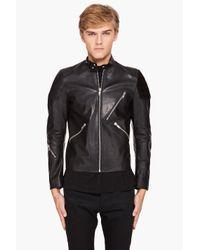 Acne | Black Leather Oliver Biker Jacket for Men | Lyst