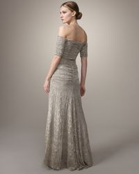 Badgley Mischka | Metallic Off-the-shoulder Stretch-lace Gown | Lyst