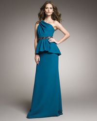Badgley Mischka | Blue One-shoulder Peplum Gown | Lyst