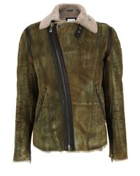 DIESEL | Leskoc Green Leather Jacket for Men | Lyst