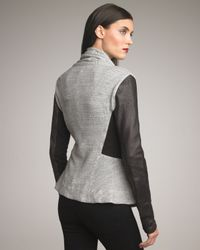 Elizabeth and James | Gray Kurt Leather-sleeve Knit Jacket | Lyst