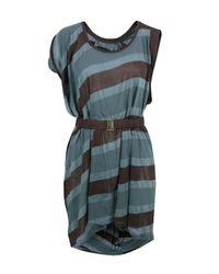 L.A.M.B. | Blue Navy & Burgundy Stripe Dress | Lyst