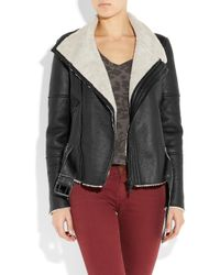 Lot78 - Black Blake Shearling and Leather Biker Jacket - Lyst