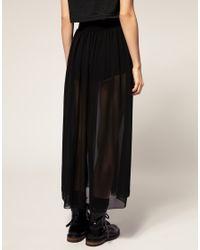 American Apparel - Black Sheer Maxi Skirt - Lyst