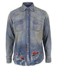 PRPS | Blue Repair Denim Shirt for Men | Lyst