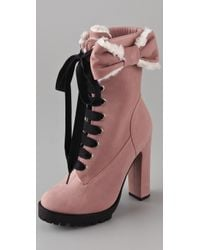 RED Valentino | Pink Lace Up High Heel Boots | Lyst