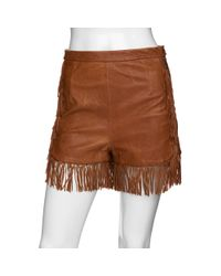 See By Chloé | Brown Preorder Leather Fringe Shorts | Lyst