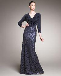 Tadashi Shoji | Blue Sequin-skirt Draped Gown | Lyst