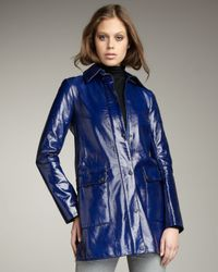 Theory | Blue Patent Leather Trenchcoat | Lyst