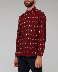 Universal Works | Red Claret Ikat Weave Patterned Work Shirt for Men | Lyst