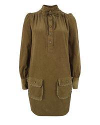 YMC   Brown Q1am6 Tie Detail Tobacco Shirt Dress   Lyst