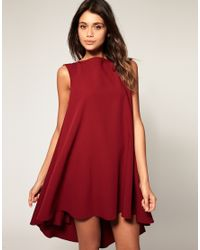 ASOS Collection - Red Asos Swing Dress with Dipped Hem - Lyst