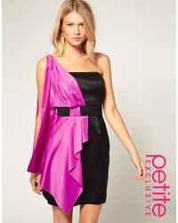 ASOS Collection | Black Asos Petite Exclusive One Shoulder Dress with Drape Scarf Deatil | Lyst