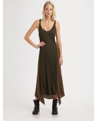 T By Alexander Wang | Green Poly Satin Racerback Maxi Tank Dress | Lyst