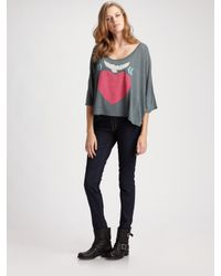 Wildfox | Gray Warm Heart Scoopneck T-shirt | Lyst