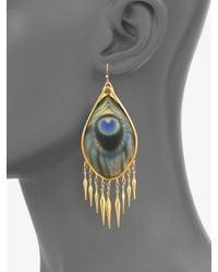 Alexis Bittar   Metallic Peacock Fringe Earrings/gold   Lyst