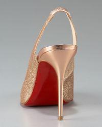 Christian Louboutin - Metallic Sexy Sling Glittered Stiletto - Lyst