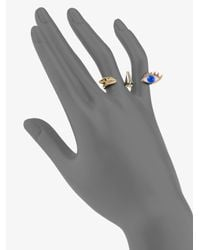 Delfina Delettrez - Blue 18k Gold Triple Anatomik Double Finger Ring - Lyst